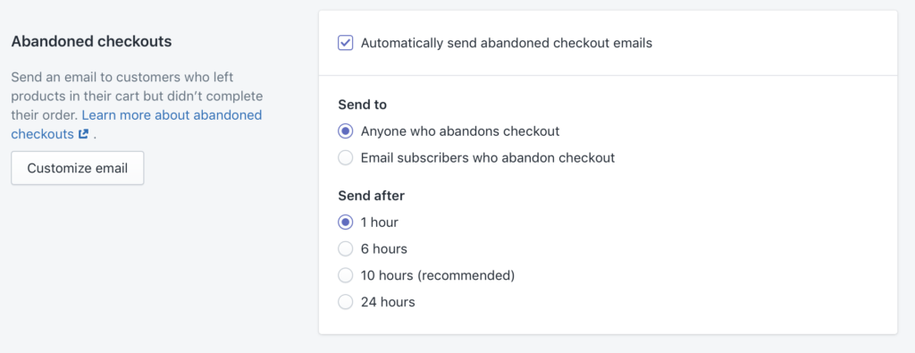 Abandoned checkouts in Shopify