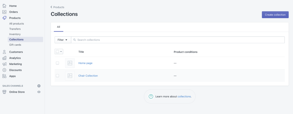 Creating and managing collections in your Shopify store