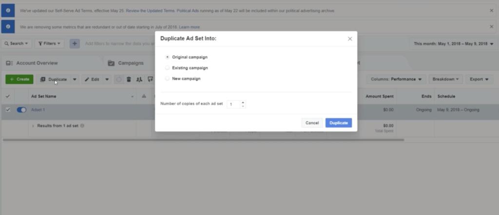 duplicating an Ad Set