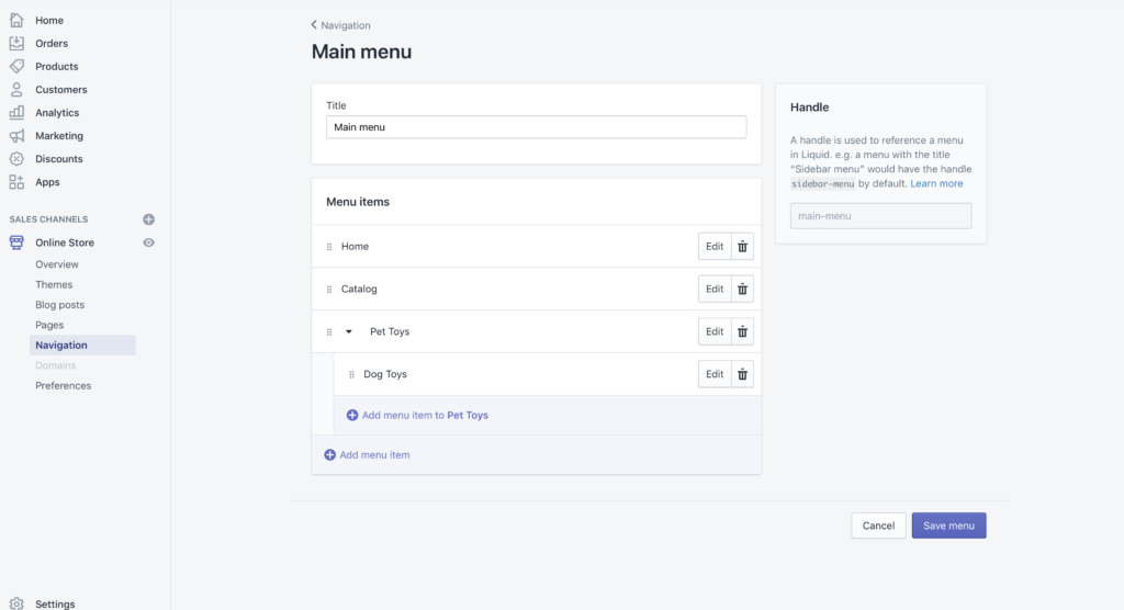 Ordering your Shopify Menu navigation
