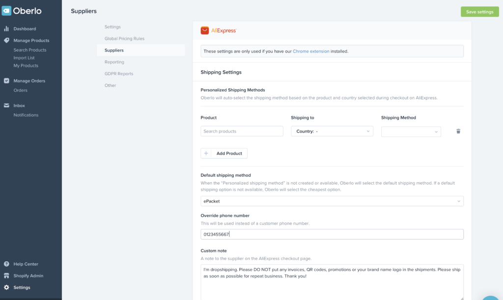 using Oberlo with Shopify