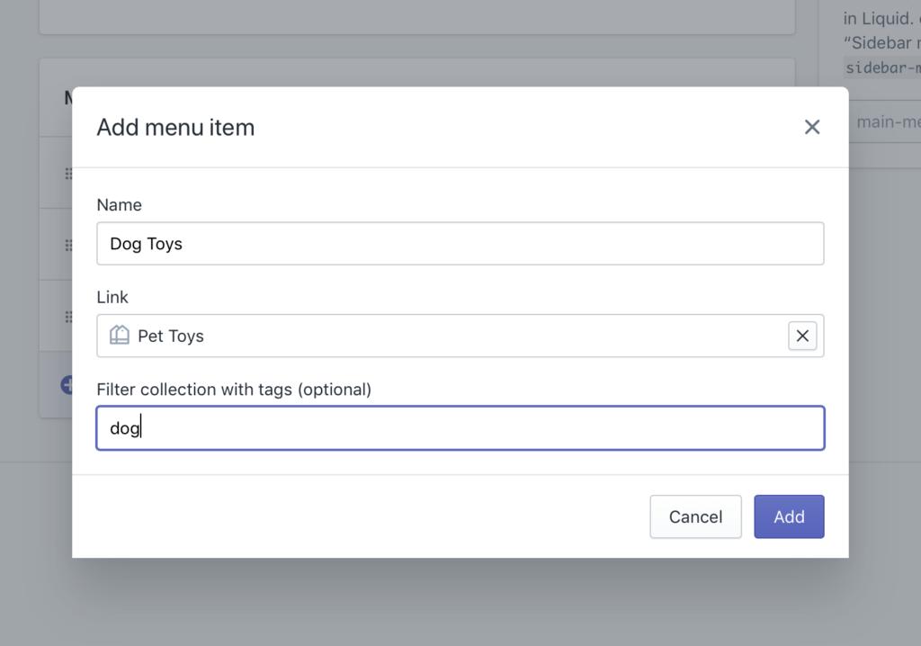 Shopify Navigation - Add a menu