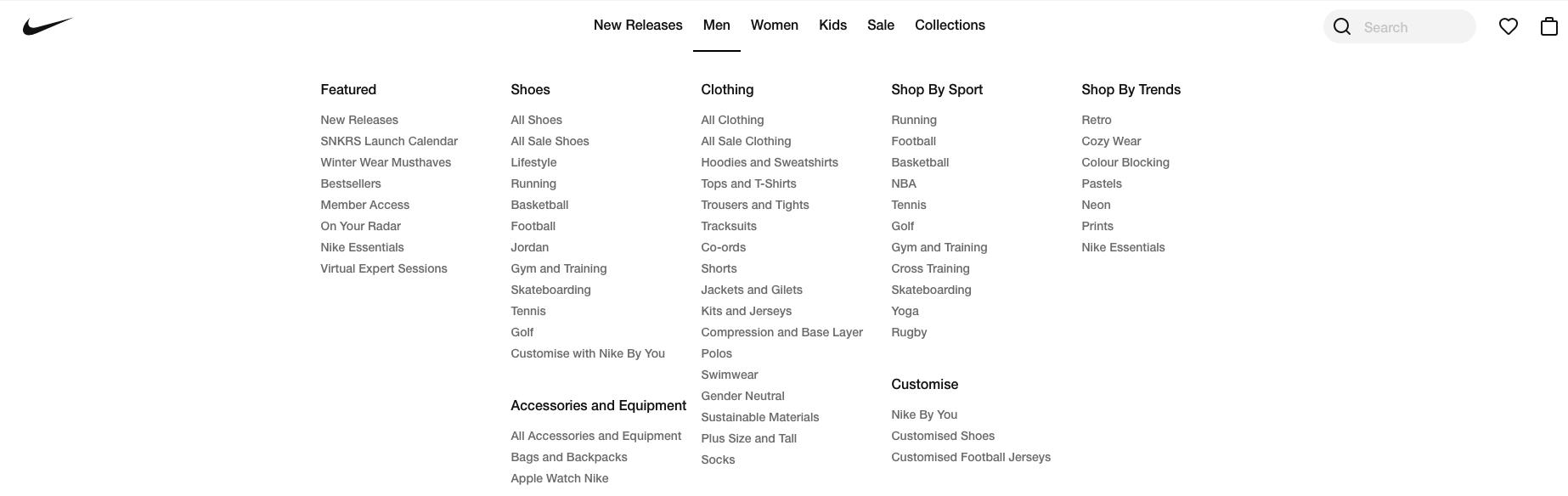 Nike Categories